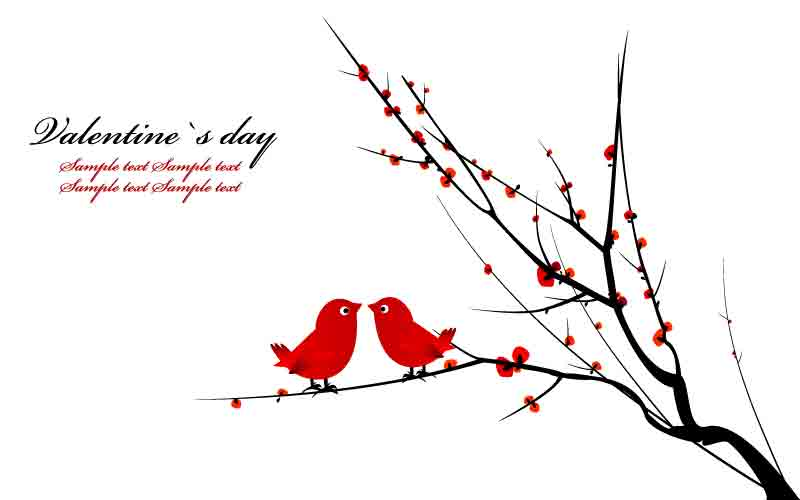 free vector A pair of birds on branches vector