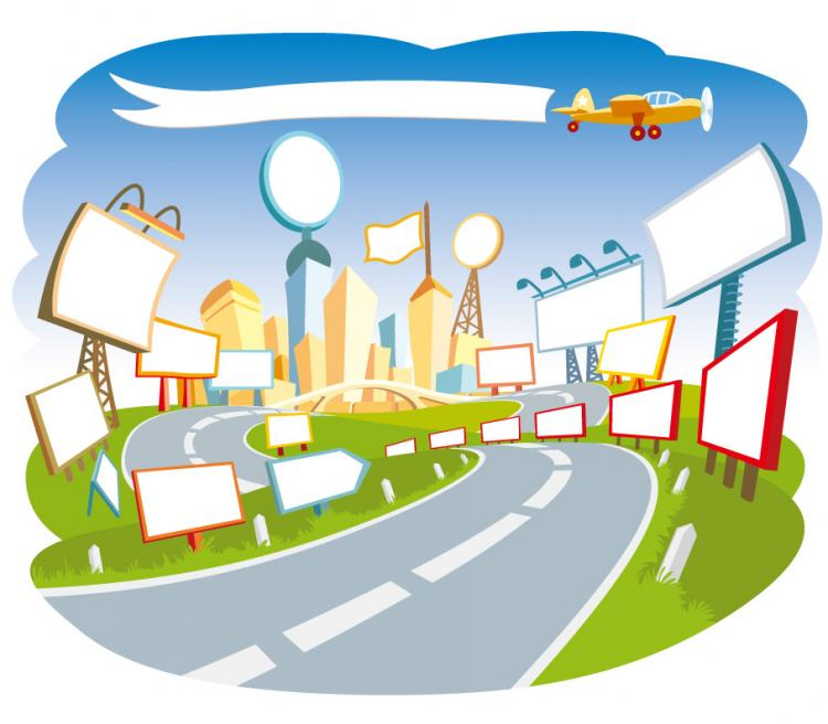free vector A road with many big board banner