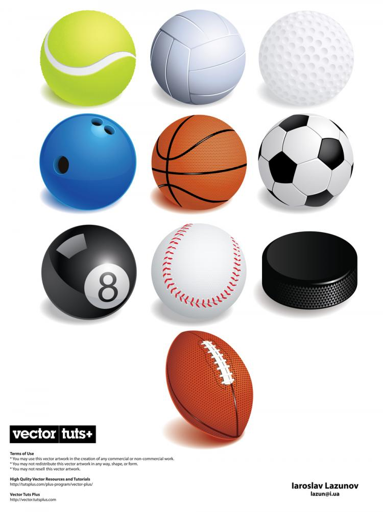 free vector A variety of ball games vector
