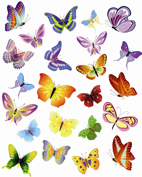 free vector A variety of beautiful butterflies vector