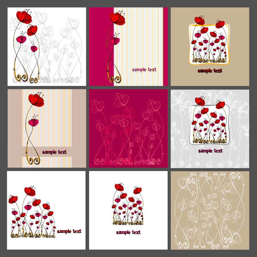 free vector A variety of beautiful flowers illustrator patterns 02 vector