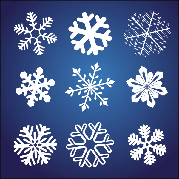 free vector A variety of beautiful snowflake pattern vector