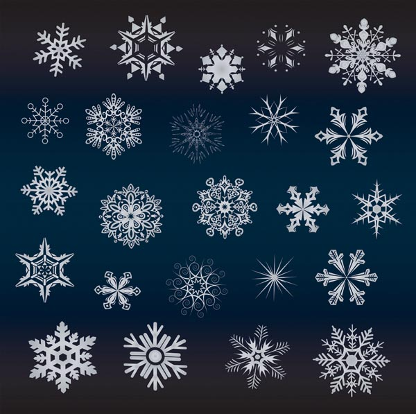 free vector A variety of beautiful snowflakes vector