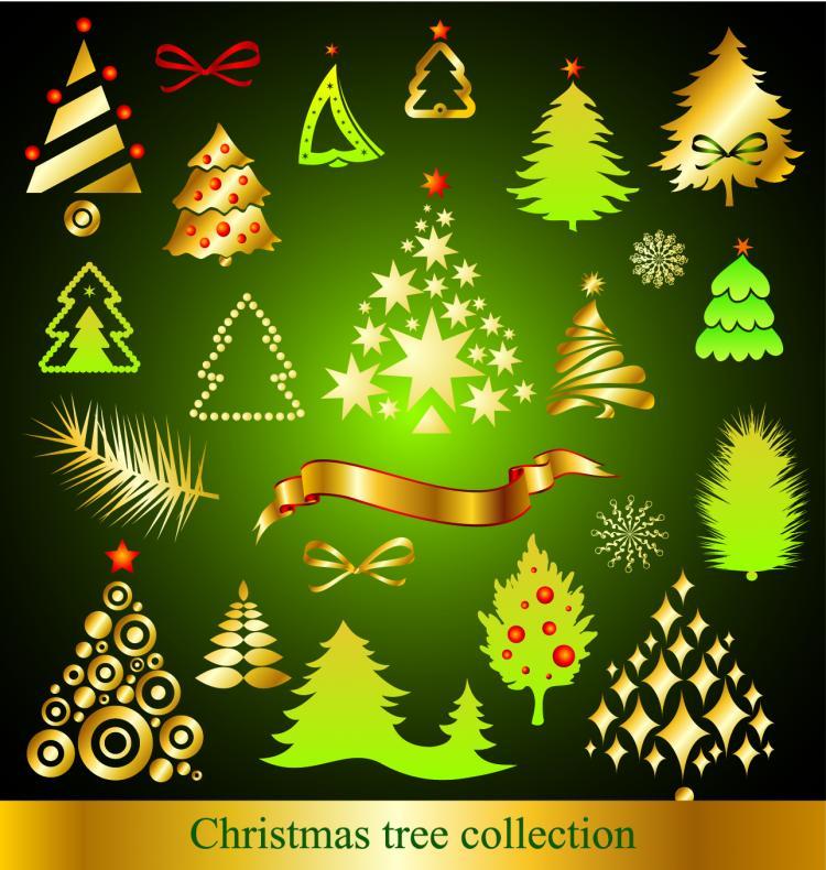 free vector A variety of cartoon christmas tree vector