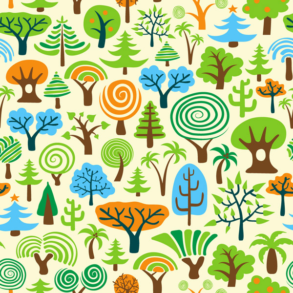 free vector A variety of cartoon trees vector
