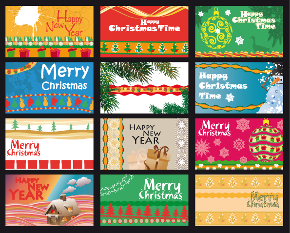 free vector A variety of christmas background vector greeting cards