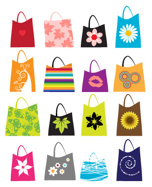free vector A variety of colorful clip art bag bags