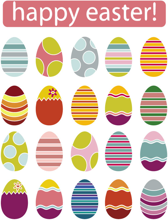 free vector A variety of easter eggs vector