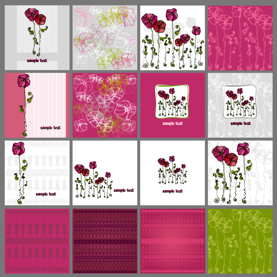 free vector A variety of exquisite patterns of flowers illustrator 01 vector