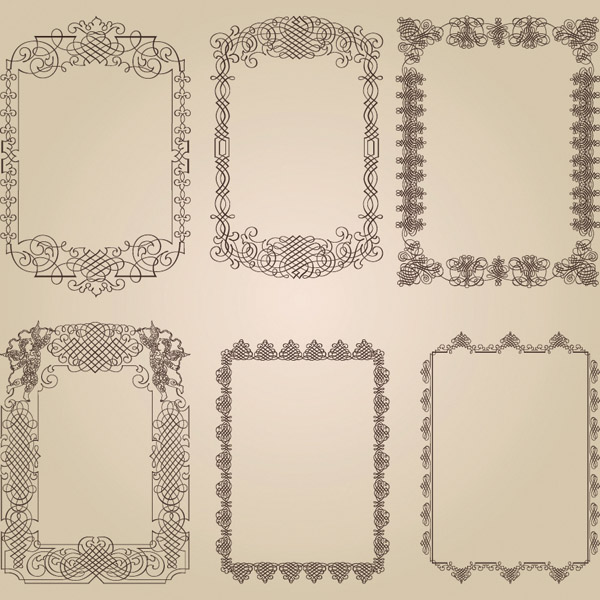 free vector A variety of fine lace border vector pattern