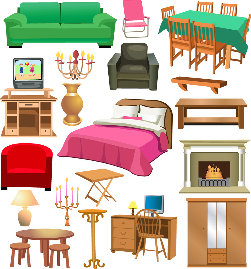 A variety of furniture clip art free vector 4vector for House furniture pictures