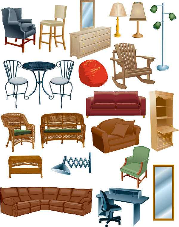 A Variety Of Furniture Clip Art Free Vector
