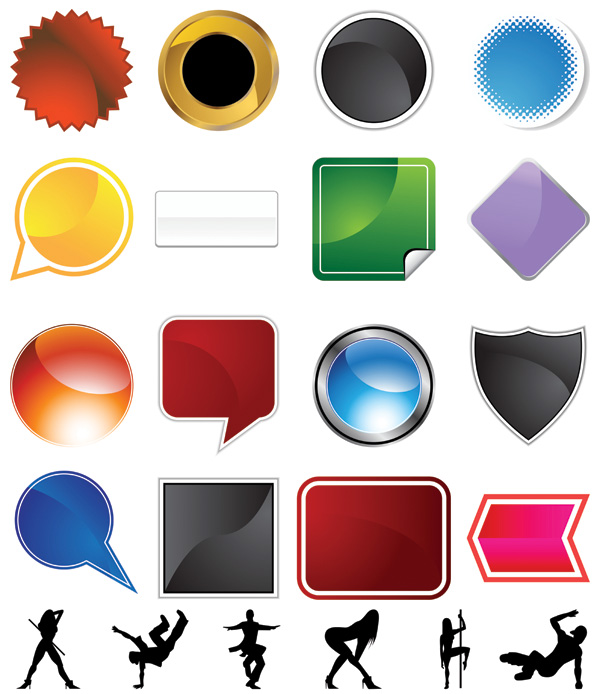 free vector A variety of graphical icons and female silhouette vector