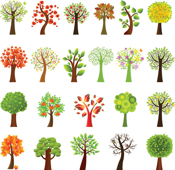 free vector A variety of lovely trees vector