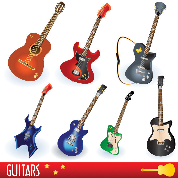 free vector A variety of musical instruments vector