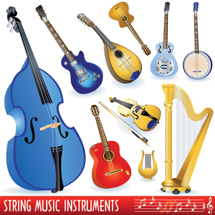 A variety of musical instruments vector Free Vector / 4Vector