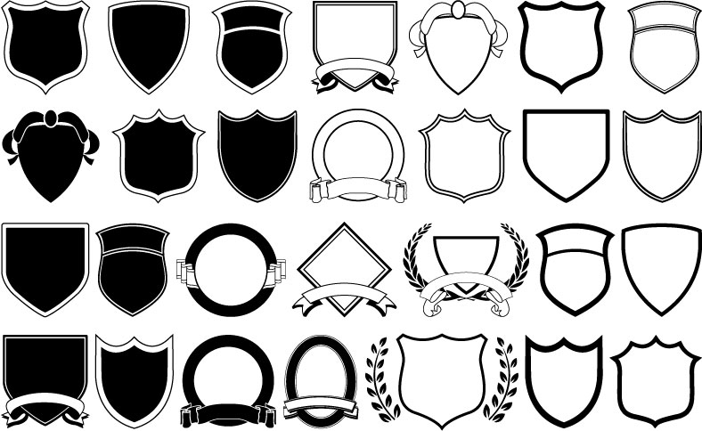 A Variety Of Shield Shapes Vector Free Vector 4vector