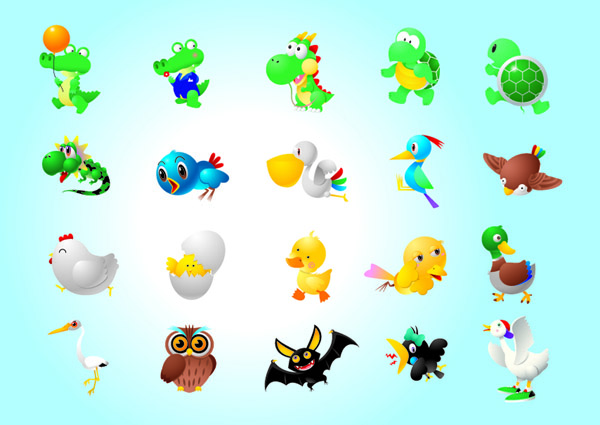 free vector A variety of super cute animals vector