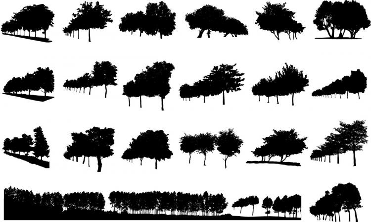 free vector A variety of trees silhouette vector