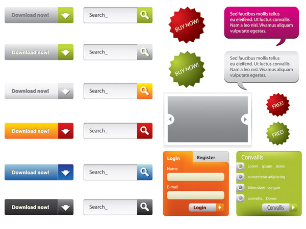free vector A variety of web design elements vector