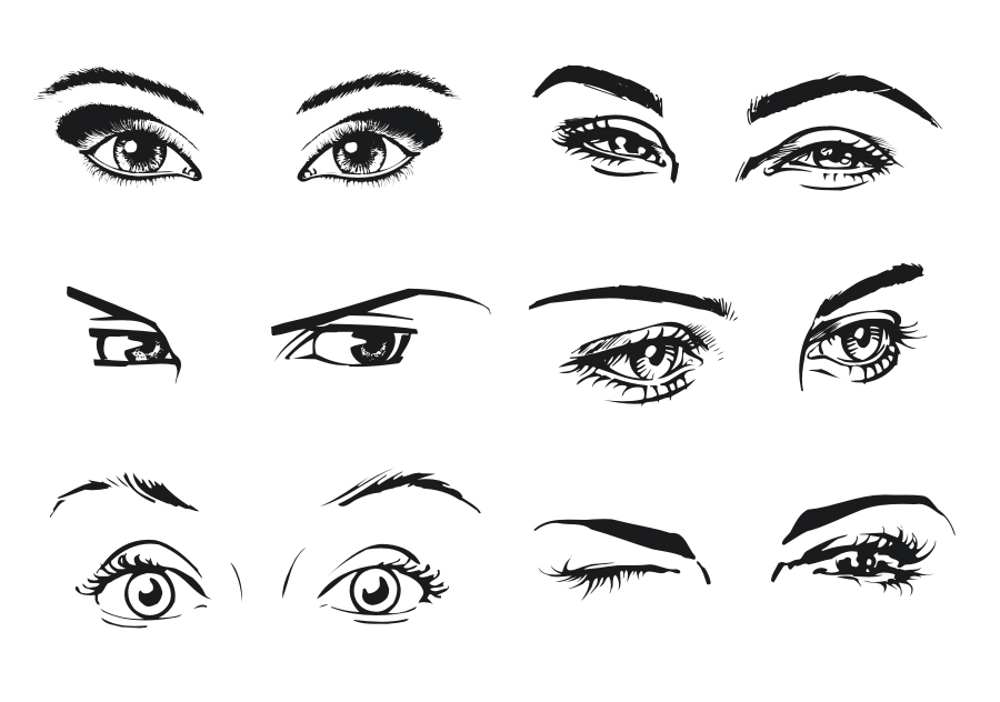 free vector A woman39s eyes color vector