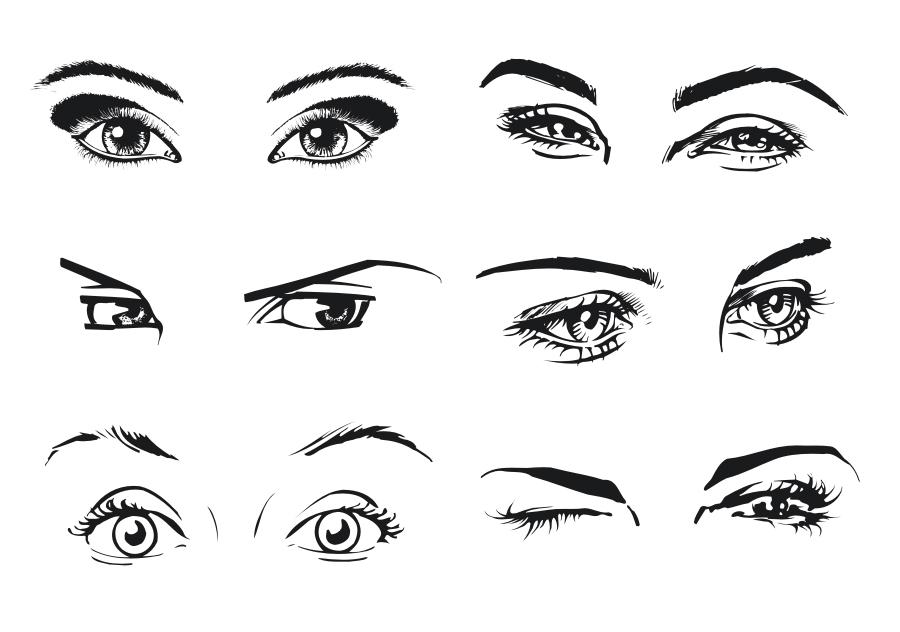 free vector A woman39s eyes color vector