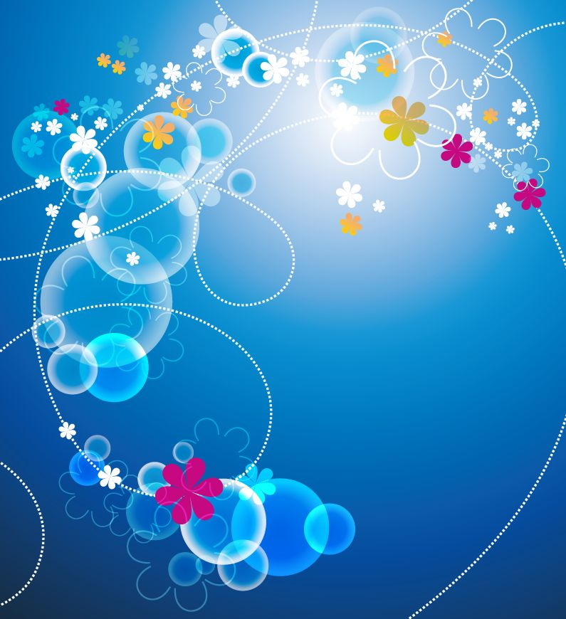 free vector Abstract Blue Floral Vector Background
