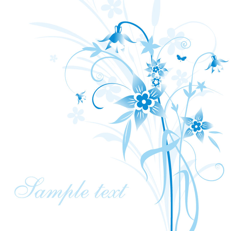 free vector Abstract Blue Floral Vector Illustration