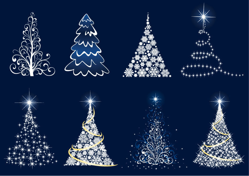 free vector Abstract Christmas Tree Vector Set