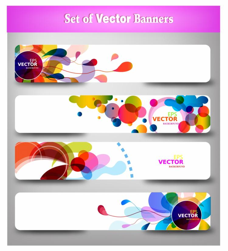 free vector Abstract colorful web headers.