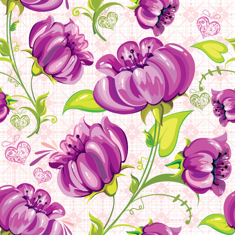 free vector Abstract Flowers Seamless Background Vector