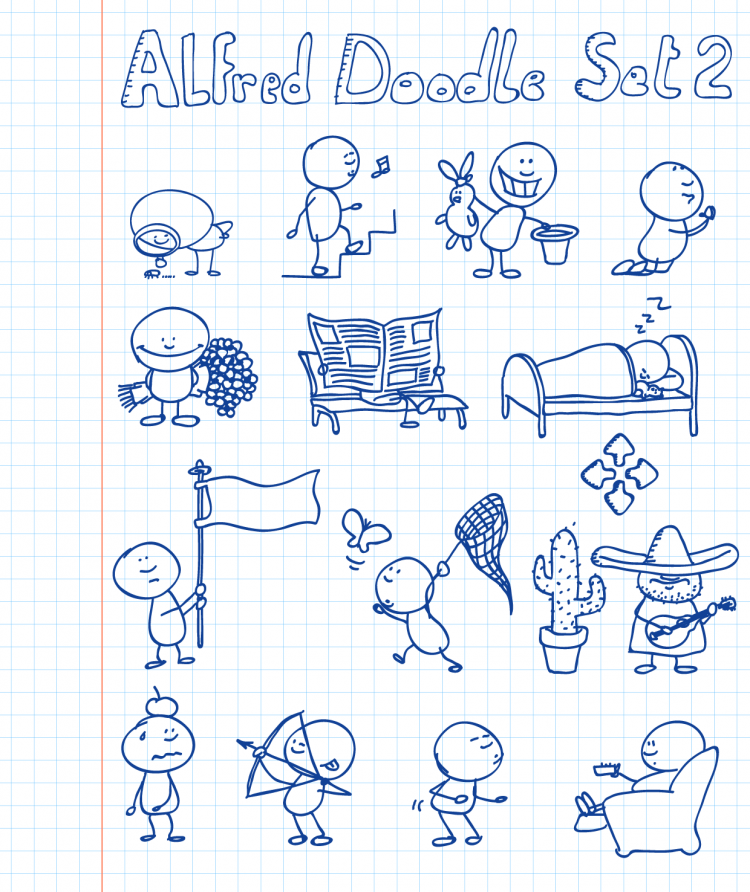 free vector Alfred Doodle Set 2