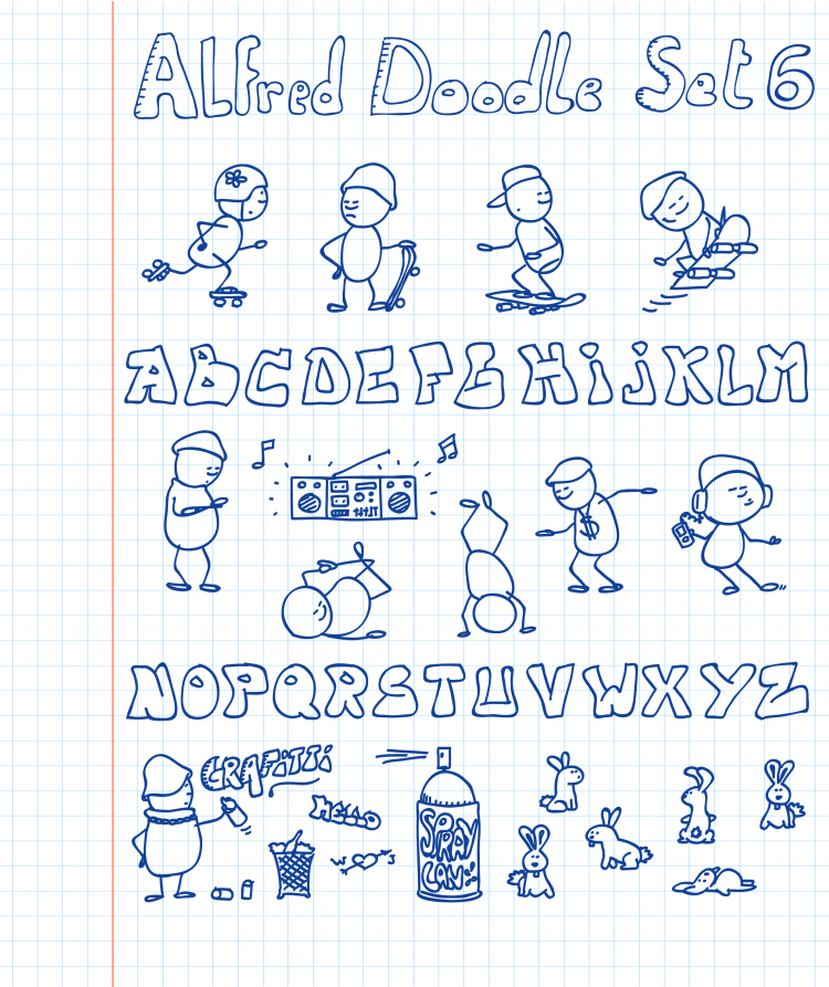free vector Alfred Doodle Set 6