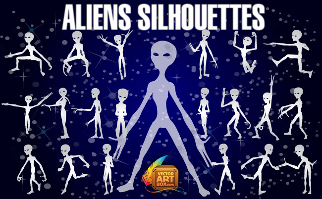 free vector Aliens Silhouettes