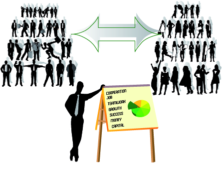free vector All kinds of business people silhouette vector