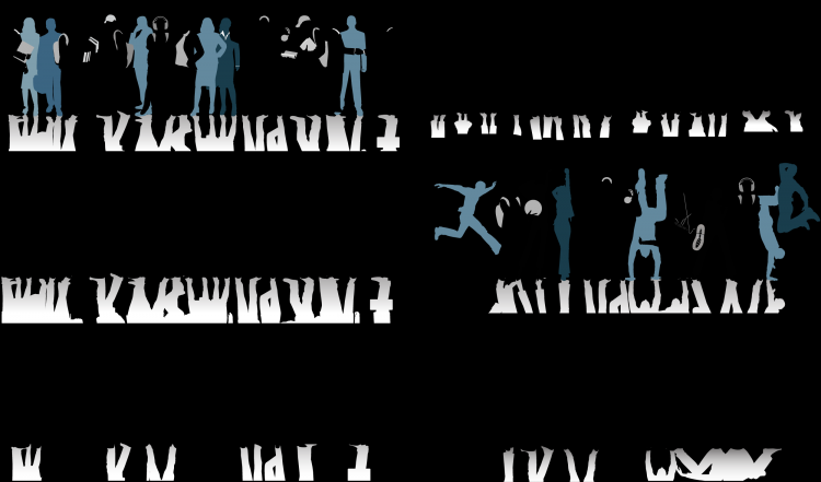 All kinds of people black and white silhouette vector Free Vector ... for Business People Silhouette Png  66pct