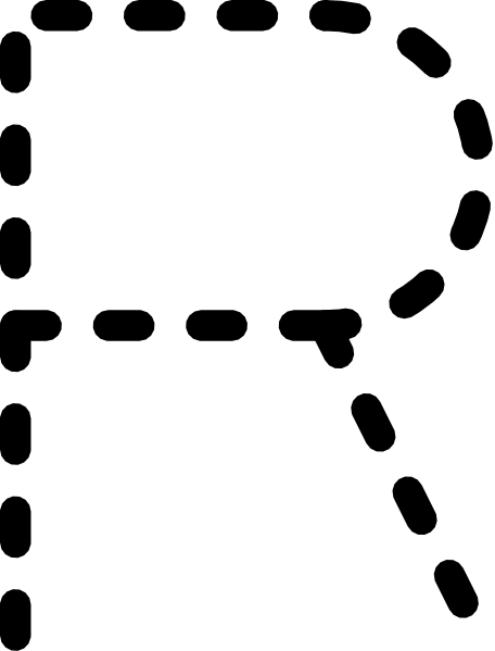 free vector Alphabet Tracing Letter R clip art