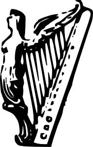 free vector Angel Harp Lineart clip art
