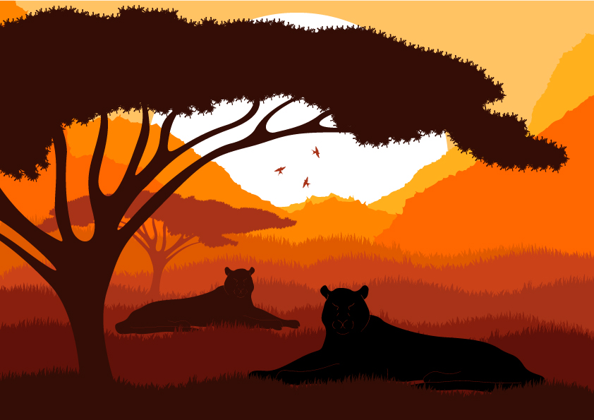 free vector Animal silhouette pattern 05 vector