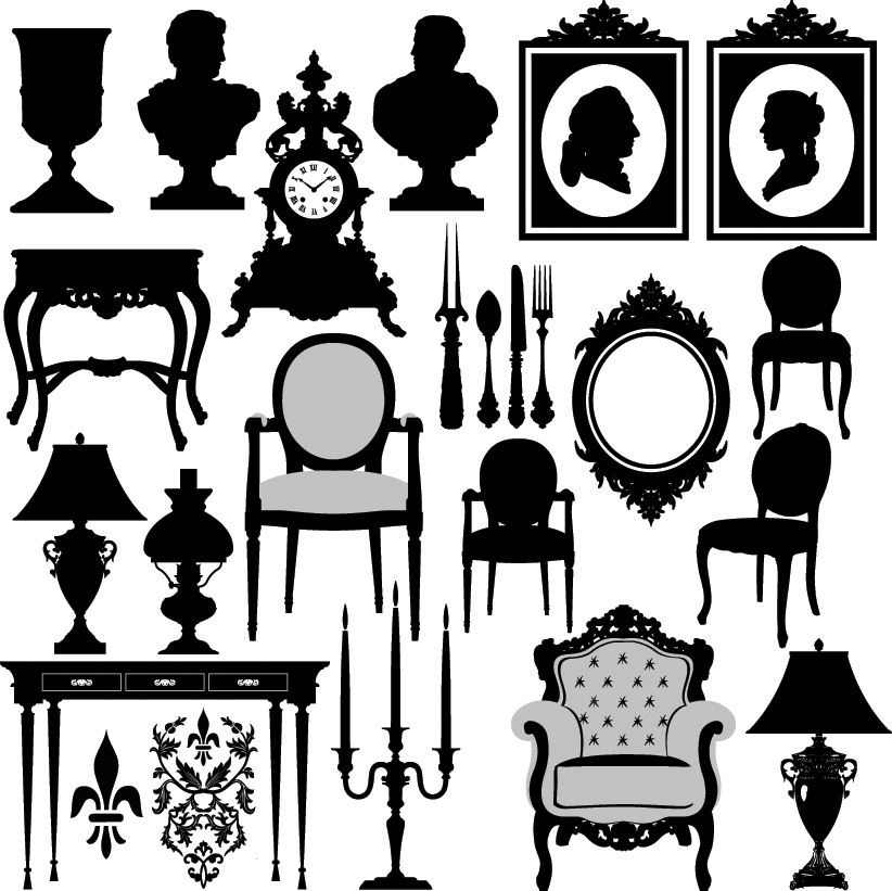 free vector Antique furniture black and white silhouette 02 vector