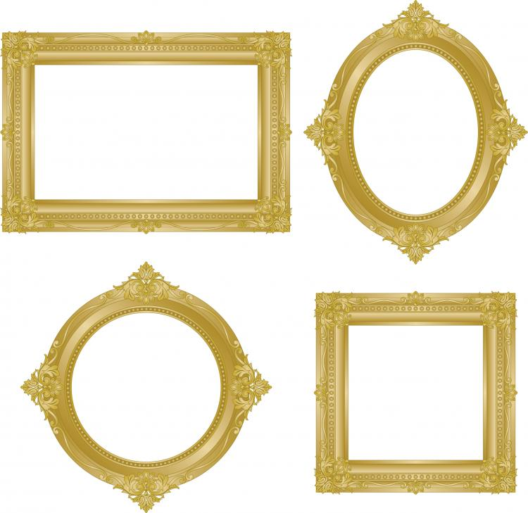 Antique gold frame 02 vector Free Vector / 4Vector