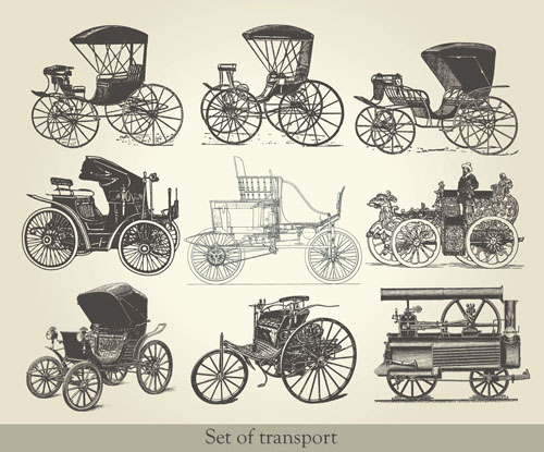 free vector Antique vehicles 02 vector