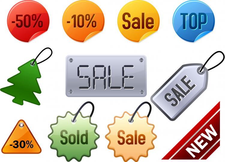 free vector Attractive discounts listed on labels vector