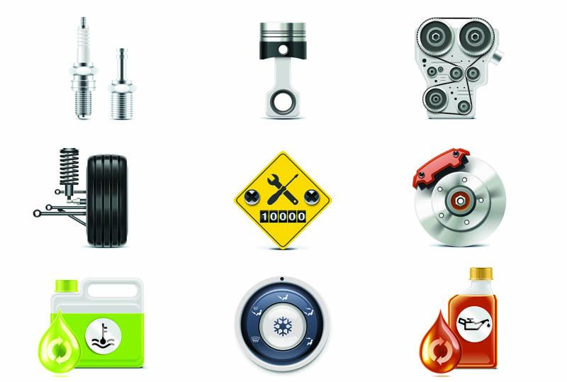 free vector Auto parts icon 04 vector