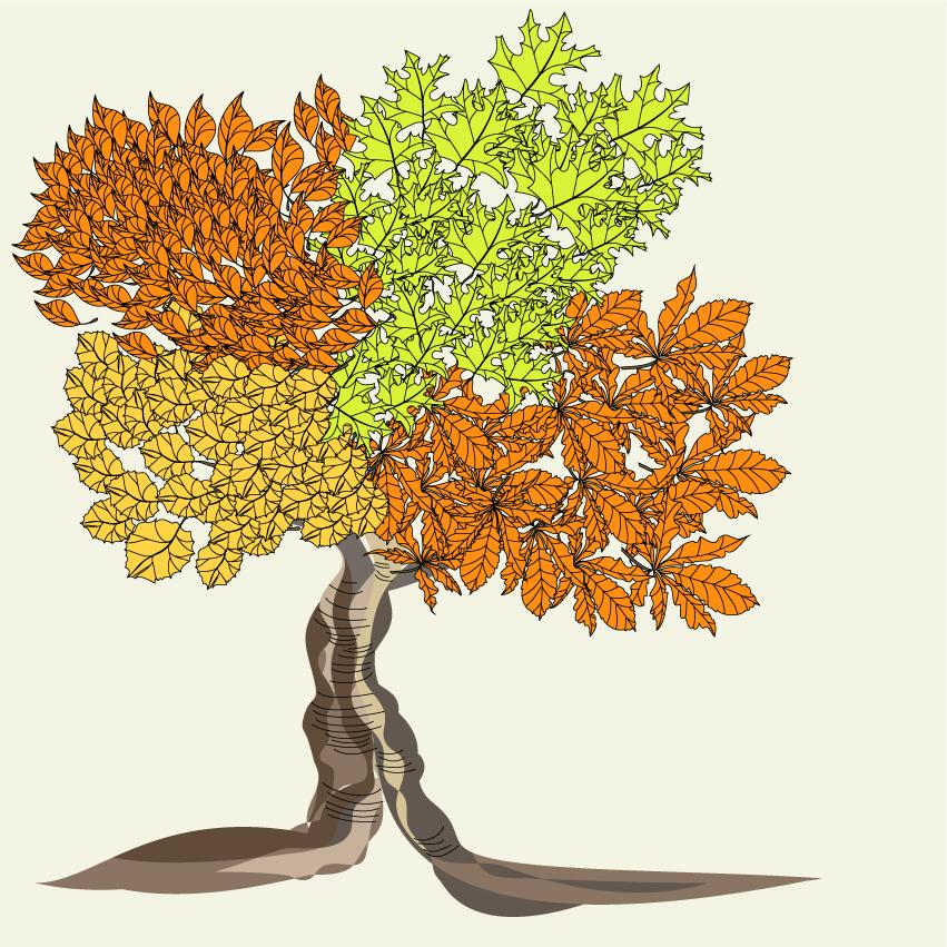 Autumn trees cartoon background pattern vector Free Vector