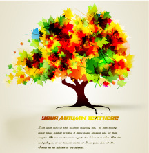 free vector Autumn trees cartoon background pattern vector