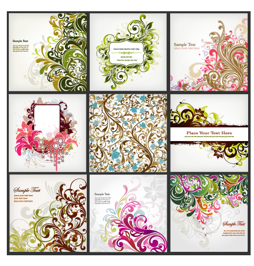 free vector Background of a variety of beautiful fashion pattern vector