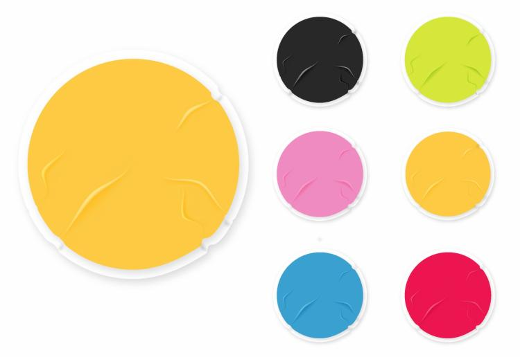 free vector Badly glued old blank stickers
