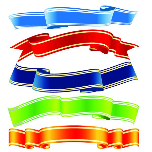 free vector Banner vector variety of ribbons ribbons