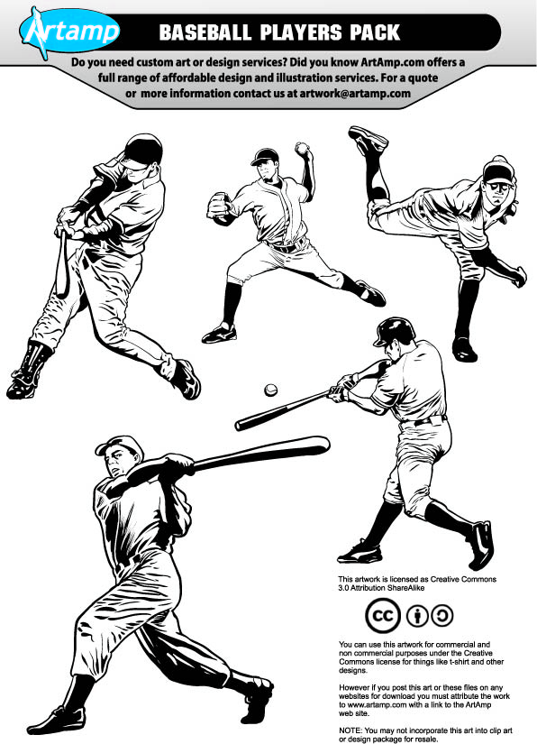 free vector Base Ball Players Vector Pack
